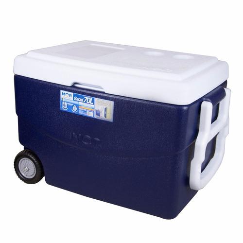 caixa térmica cooler glacial azul 70l com alça e rodas - mor