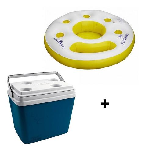 caixa térmica invicta 34l + boia bar flutuante nautika
