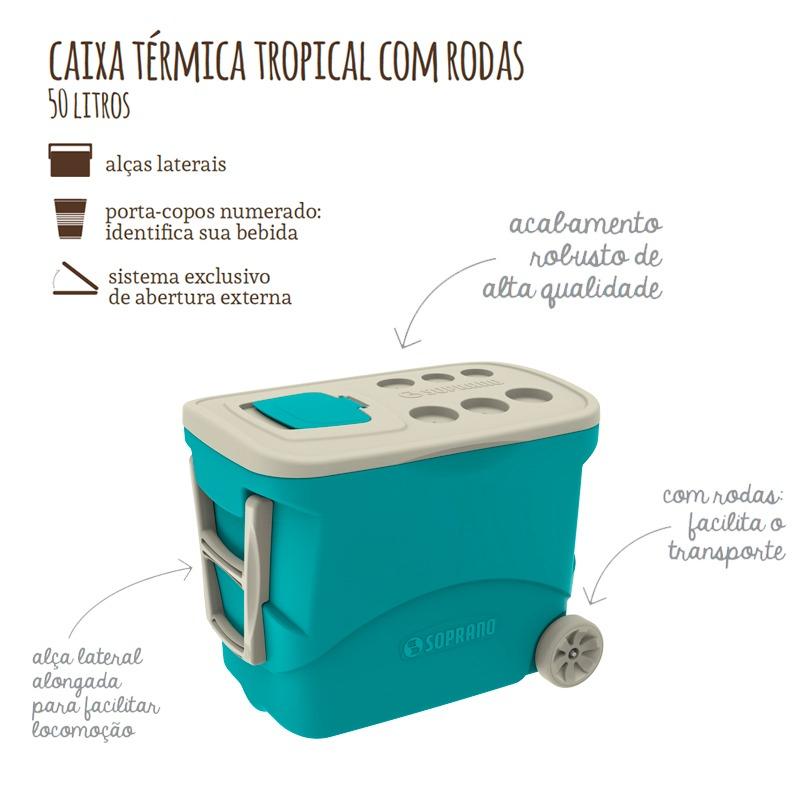 40beafb4b Caixa Termica Tropical 50 Litros Com Rodas Grande Soprano - R  271 ...