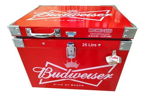 caixa térmica metálica 25 litros personalizada com abridor