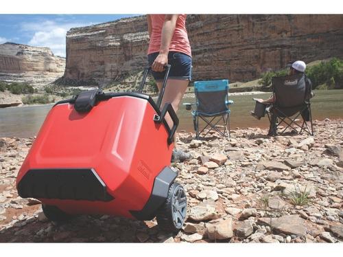 caixa térmica reforçada rugged 55qt coleman com rodas