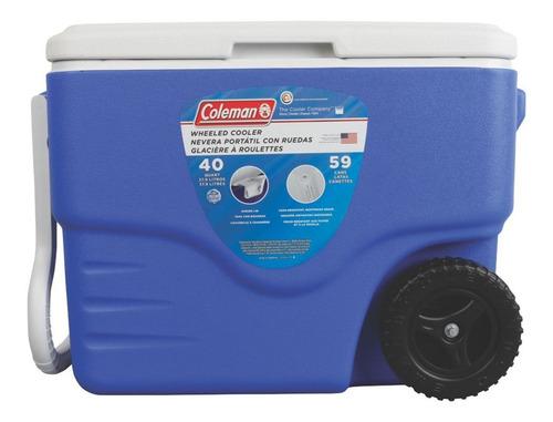 caixa térmica xtreme com rodas 40qt azul 38 litros coleman