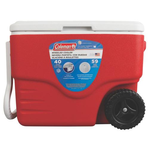 caixa térmica xtreme rodas 40qt vermalha 38 litros coleman