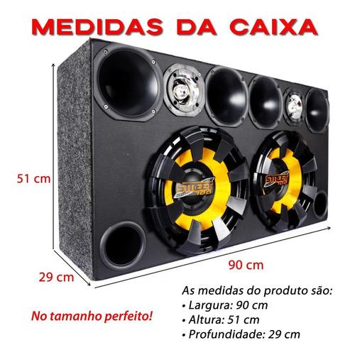 caixa trio som completa 2sub 12 + 4d+2t + modulo taramps