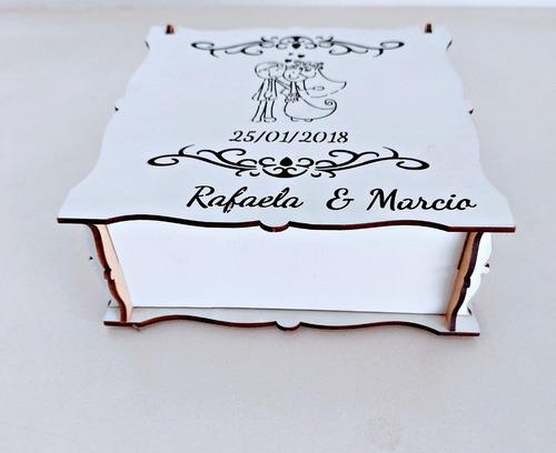 caixas convite de casamento personalizada mdf - 10 unidades