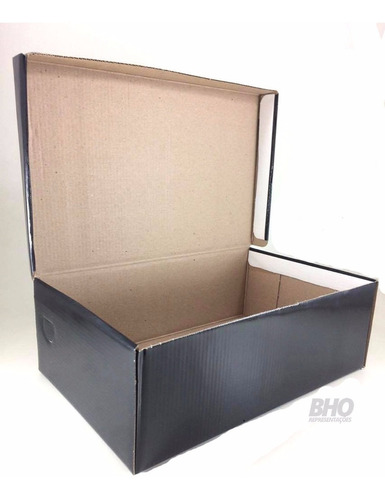 caixas de sapato preta embalagem papelão 22 x 28 cm - 70 cx