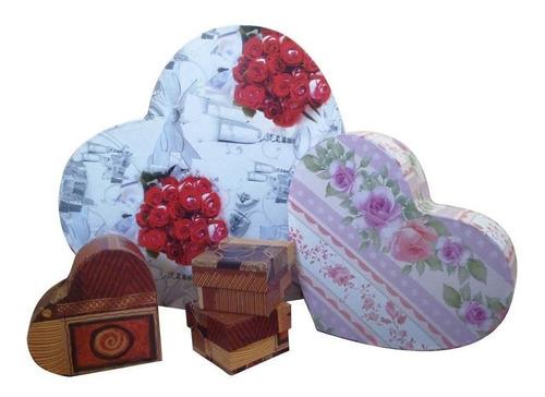 caixas revestidas formato coração p,m,g a partir de 9,00