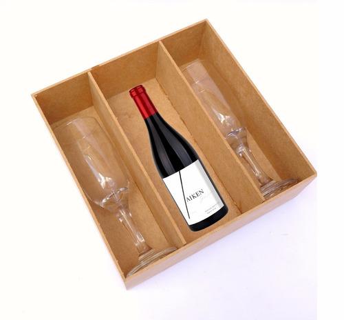 caixas vinho p/ 2 taças mdf crú casamento - padrinho