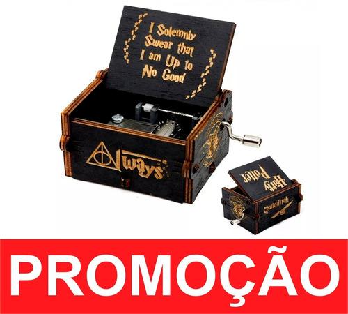 caixinha caixa de música harry potter (manivela) cor preta