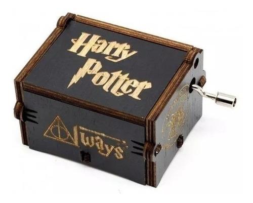 caixinha caixa de música harry potter manivela preta filme