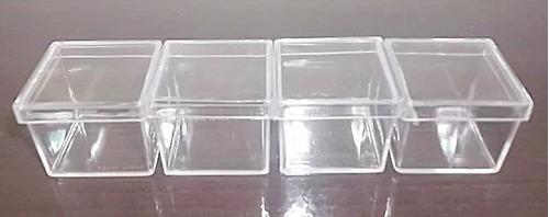 caixinha de acrílico 4x4x3,3cm cristal transparente 50 unid.