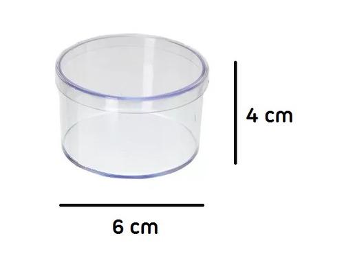 caixinha de acrilico redonda 6x4 p/  lembrancinhas (30 unid)