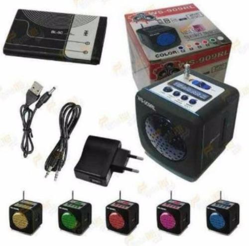 caixinha de som ws-909 rl, portátil, rádio fm, pen drive mp3