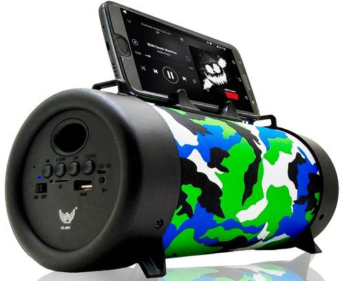 caixinha som canhão portatil 5w usb mp3 p2 micro sd rádio fm