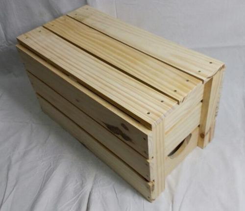 caixote de feira reto lixado madeira novo pinus montado