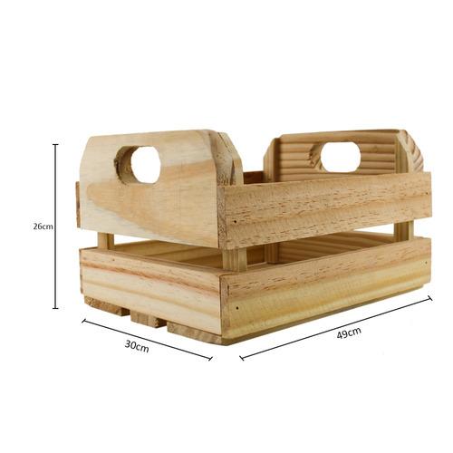 caixote de madeira de pinus - tamanho: 30 x 26 x 49 cm