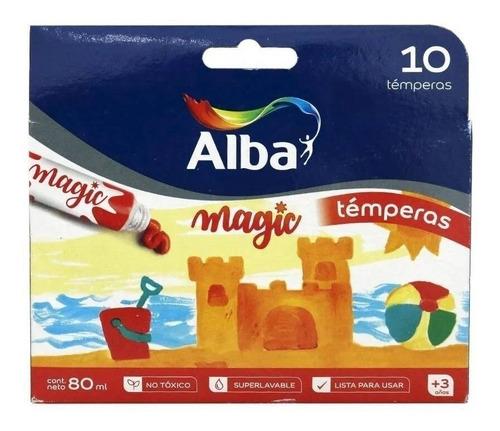 caja 10 temperas alba magic colores surtidos escolar y pomo