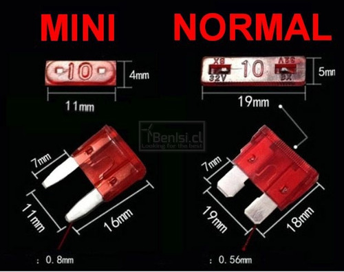 caja 100 fusibles para automoviles (mini o normal) | benisi