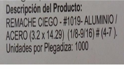 caja 1000 (mil) remache 4-7 (3.2mm*14.29mm) aluminio acero