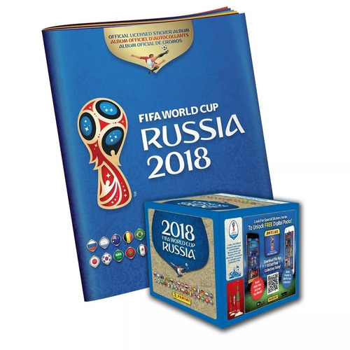 caja 104 sobres + álbum panini mundial rusia fifa wc 2018