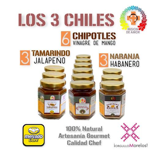 caja 3 chiles: chipotle, tamarindo y naranja-habanero.