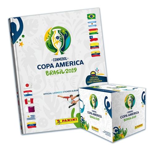 caja 50 sobres+álbum pasta dura copa américa brasil 2019