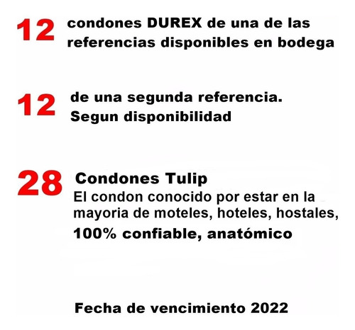 caja 52 condones preservativo durex tulip surtidos - w01