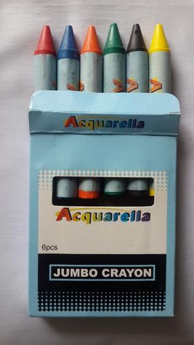 caja 6 creyones de cera jovi jovicolor y acquarella escolar