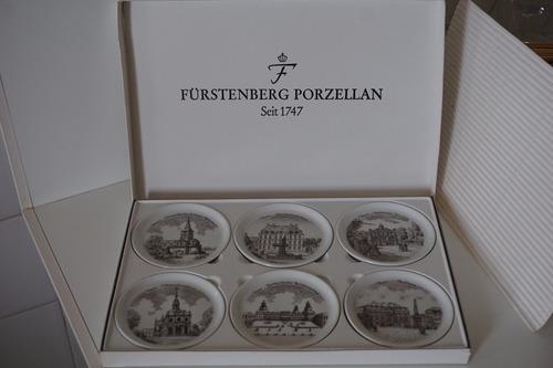 caja 6 posavasos porcelana alemana fürstemberg ciudades