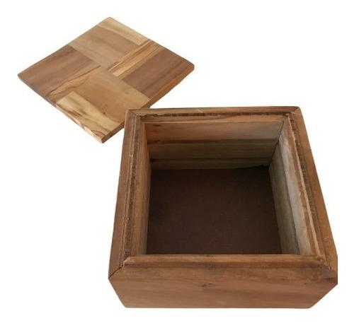 caja alajero de madera de olivo 13 x 13 cms con tapa baum