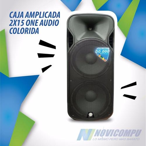 caja amplicada 2 x 15 one audio negra 50.000w +stand+ 2 micr