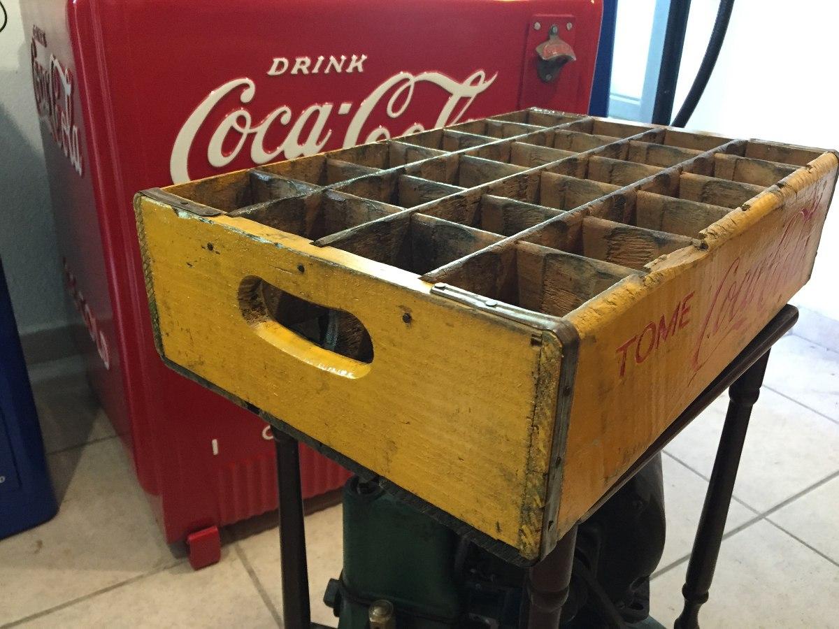 Caja antigua reja de refrescos coca cola madera amarilla - Caja madera antigua ...