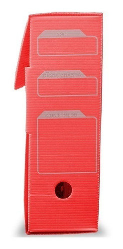 caja archivo documentos de plastico 13cm roja districomp