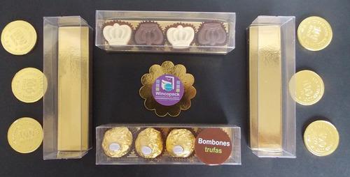 caja bombones / trufas transparente 15x3,7x5cm -pack x 25 u