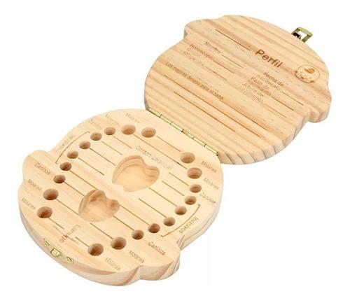 caja cajita guarda dientes niñas niños madera