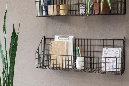 caja canasta repisa grilla organizador alambre estante negra