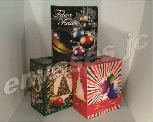 caja cartón navideña lisa - canasta navidad estuche regalo