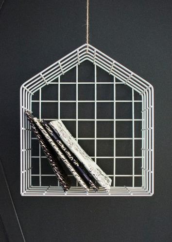 caja casita organizadora estante canasto alambre blanca