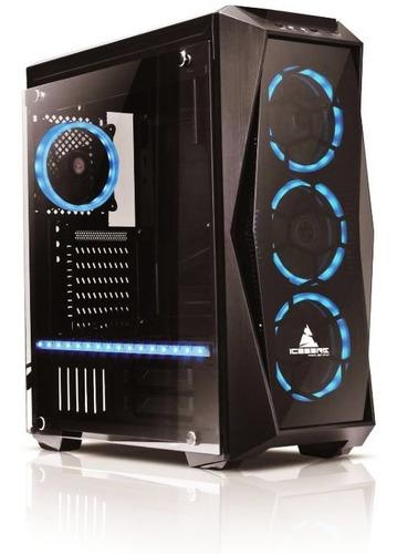 caja chasis case iceberg crystal spectrum v2 aura 4 fans rgb