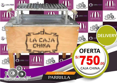 caja china con parrilla de acero inoxidable 70x45