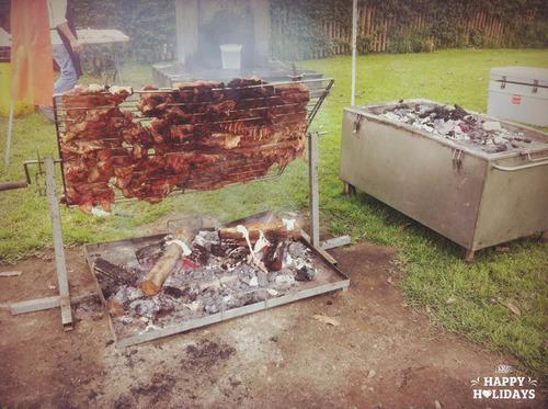 caja china  parrilla cilindro al palo acero inoxidable grill