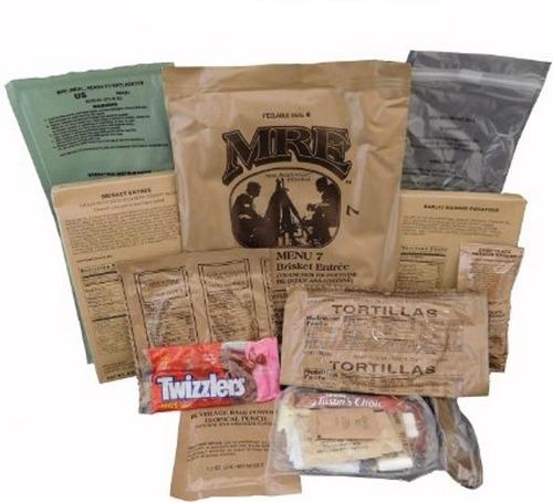 caja completa de 12 raciones de comida militar mre