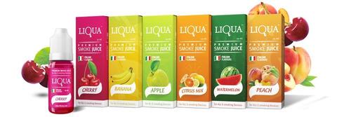 caja con 10 líquidos liqua para vaporizador varios sabores