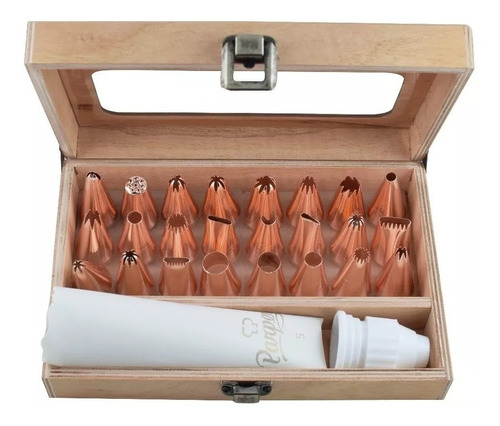 caja con 24 boquillas grandes rose gold parpen