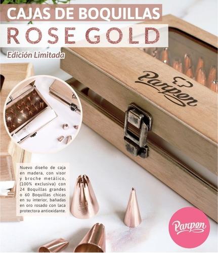 caja con 24 boquillas grandes rose gold parpen (ed limitada)