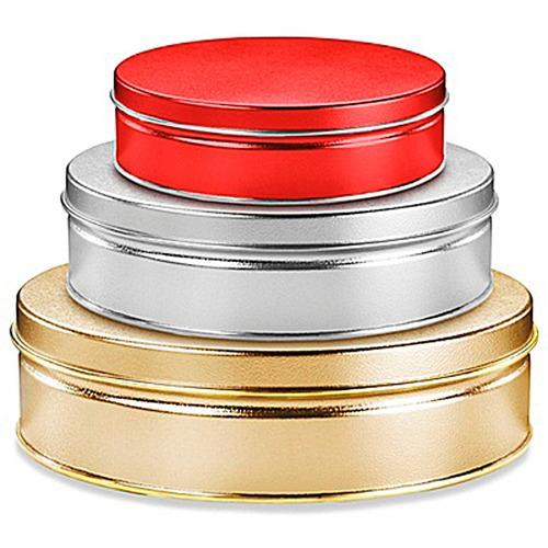 caja con 24 latas decorativas para 453 gramos color plateado