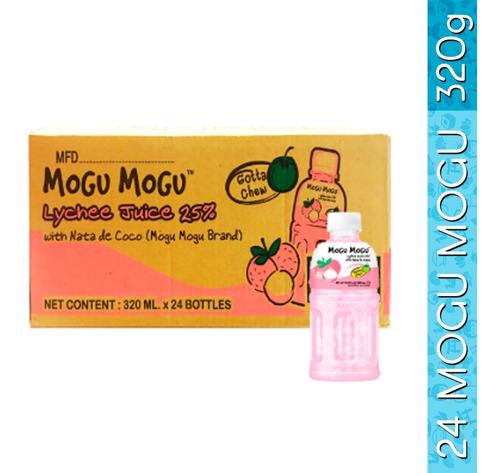 caja con 24pzs de mogu mogu de lychee con nata de coco 320ml