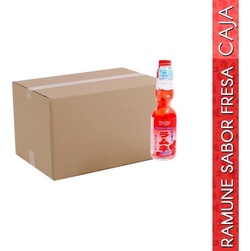 caja con 30 pzas de ramune bebida gaseosa sabor fresa 200ml