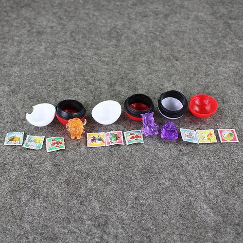 caja con 36 pokebolas 3.5 cm y pokemon basicos con stickers