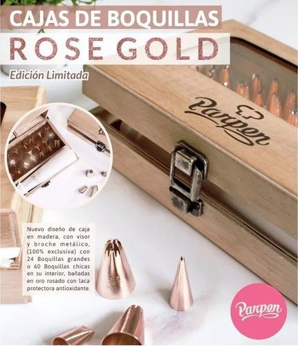 caja con 60 boquillas rose gold parpen